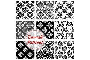Floral Damask pattern set, flowery vector ornament