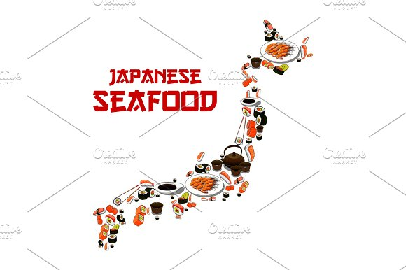 Japan Map Japanese Seafood Sushi Fish Food Sashimi Illustrations - Japan map cartoon