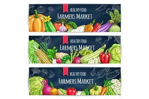 Vegetable banner with veggies sketch on blackboard