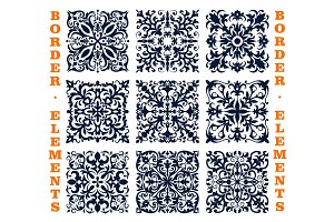 Tiles borders of floral damask vector ornament