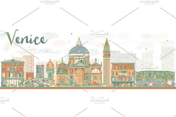 Abstract Venice Skyline Silhouette