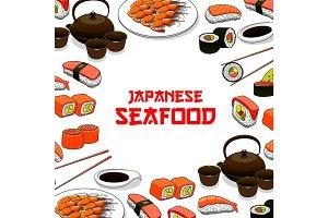 Japanese seafood sushi fish sashimi vector poster