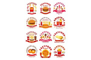 Fast Food meal set vector isolated icons, emblems