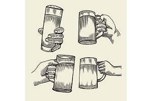 Hand holding a full glass of beer
