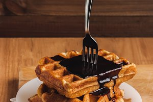 Waffles with Chocolate Cream