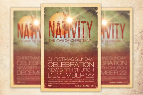 nativity church flyer template flyer templates creative market
