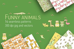 Funny animals seamless patterns