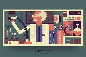 Scientist in laboratory background