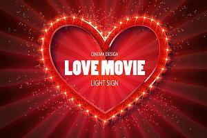 Love movie heart. 4 Retro banners