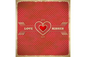 Vintage Valentine's Day card with polka dots