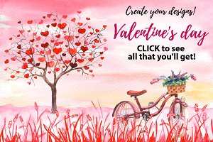 Valentine day Watercolor templates