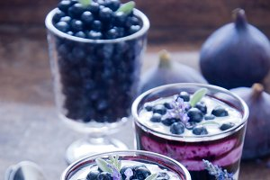 Blueberry dessert with lavender flow
