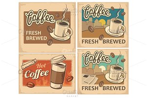 Retro poster hot coffee cup