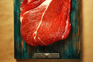 Top view of beef red meat