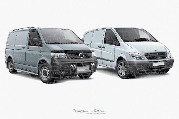 Two Cargo Panel Vans in Illustrations