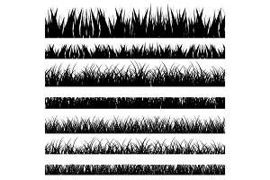 Vector illustration. Set with realistica grass. Nature.