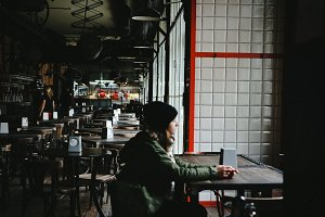 Girl in Modern Cafe