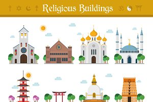 Religious Buildings Vector Set
