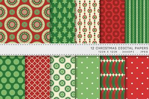 Christmas Red Green Digital Paper