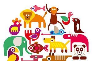 Zoo Animals - round vector illustrat