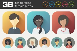 Flat Icons Set of Female Persons