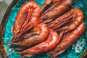 Raw uncooked red shrimps