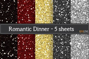 Romantic Dinner Glitter Paper Pack