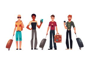 Set of young handsome male travelers with luggage, suitcases