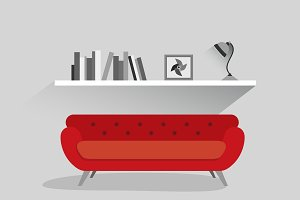 Red sofa in interior.
