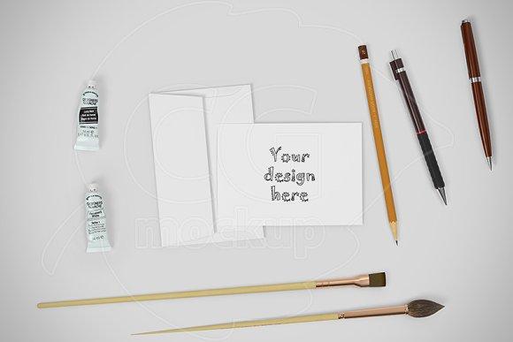 Greeting card mockup creator PSD
