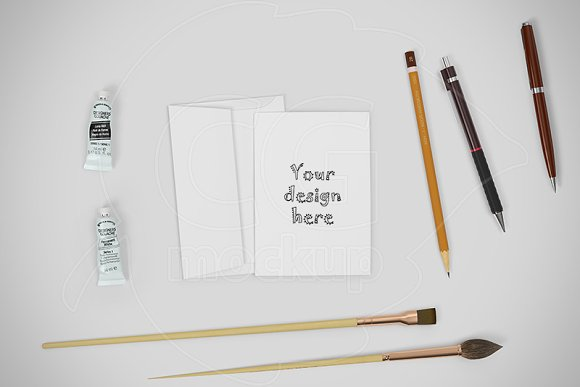 Card A6 mockup CREATOR stationery in Scene Creator Mockups - product preview 1