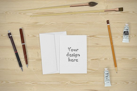 Card A6 mockup CREATOR stationery in Scene Creator Mockups - product preview 2