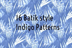 16 Blue Batik Style Patterns