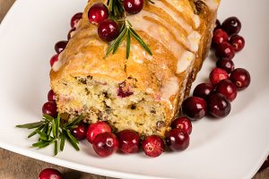 Iced cranberry walnut bread