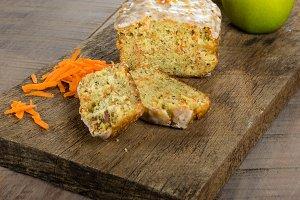 Carrot apple cake sliced