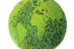 Green earth on white background