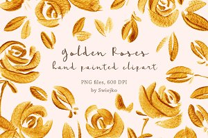 Golden Roses clipart set
