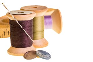 Thread and needle isolated
