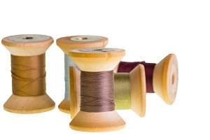 Spools of thread isolated