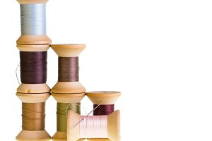 Wooden spools of thread