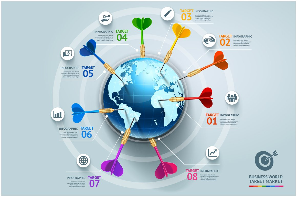 World map connection infographic illustrations creative market business world target infographics gumiabroncs Image collections