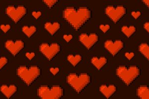 Pixel Art Hearts Seamless Background