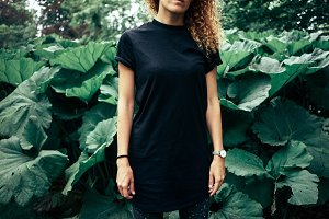 Hipster girl wearing black t-shirt