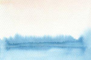 watercolor landscape blot