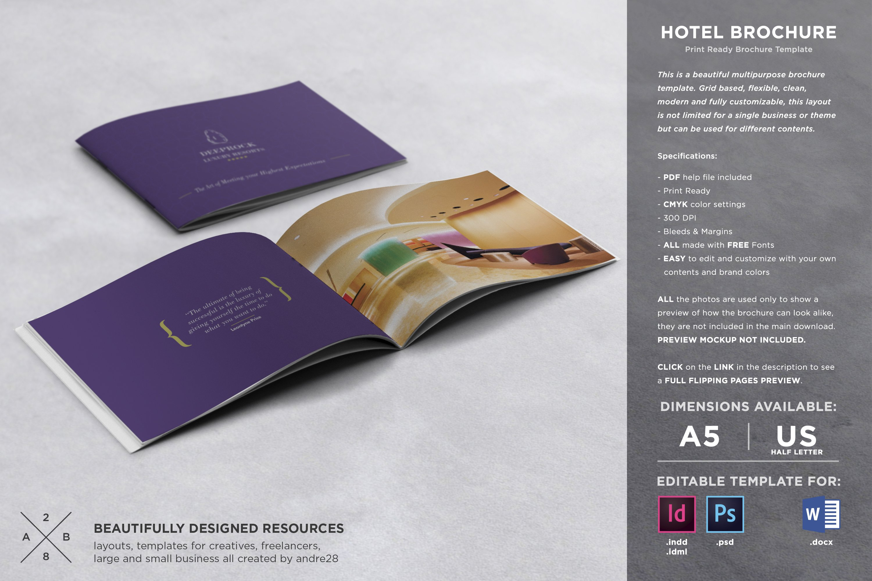 Hotel brochure template brochure templates creative market for Hotel brochure templates free download