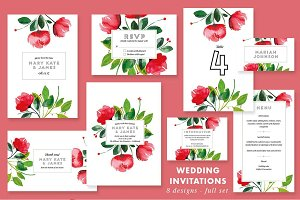 Watercolor Wedding Invitation Floral
