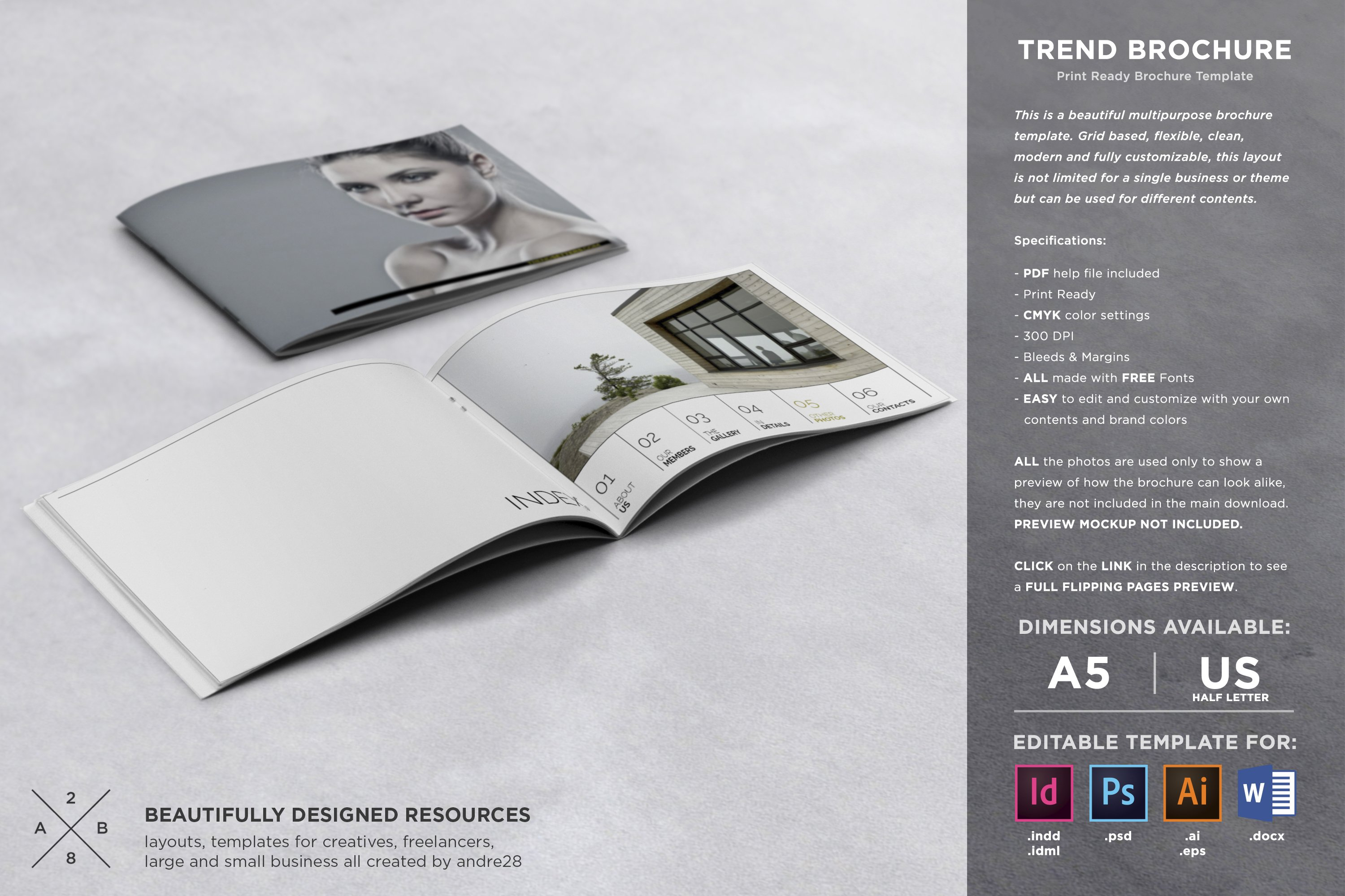 Trend Brochure Template Brochure Templates Creative Market - Free template brochure download