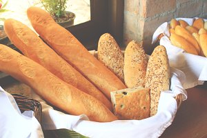 Loaves of Italian bread in basket