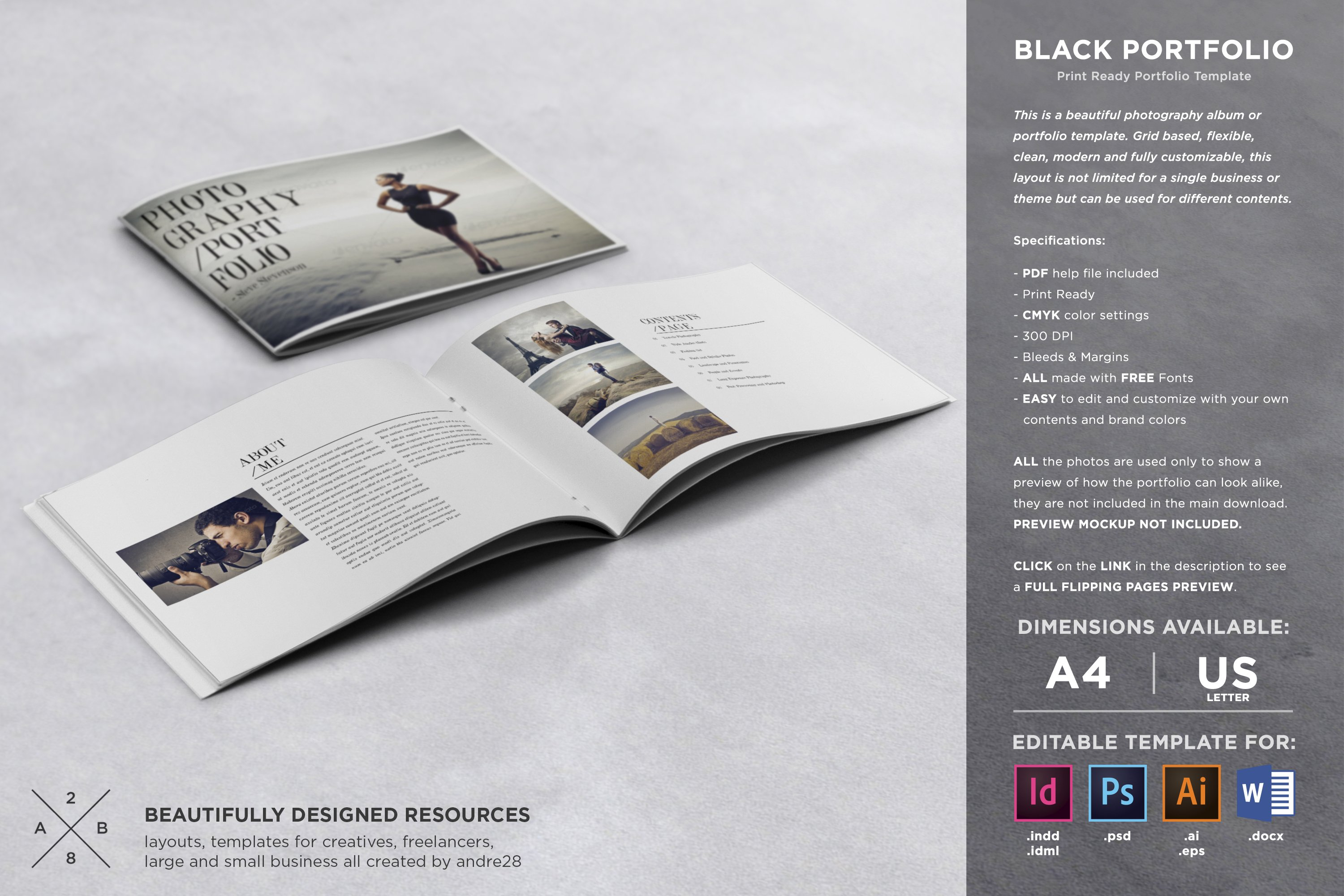 photography portfolio template brochure templates creative market. Black Bedroom Furniture Sets. Home Design Ideas