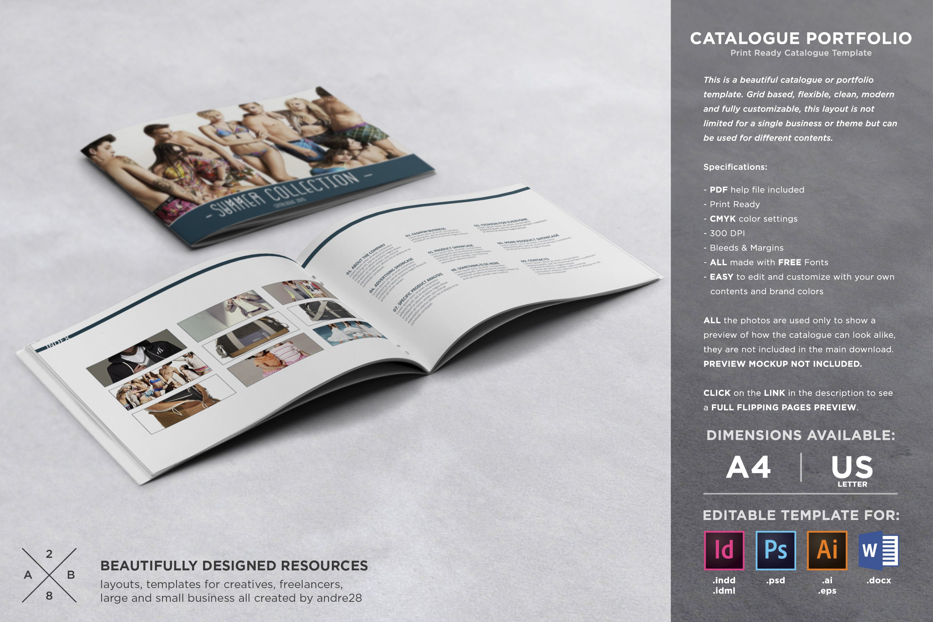 catalogue portfolio template brochure templates creative market. Black Bedroom Furniture Sets. Home Design Ideas